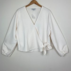 Madewell; Texture & Thread Crepe Wrap Top - Ivory